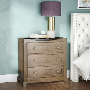 Alcalde 3 Drawer Champagne Gold Nightstand by Willa Arlo Interiors