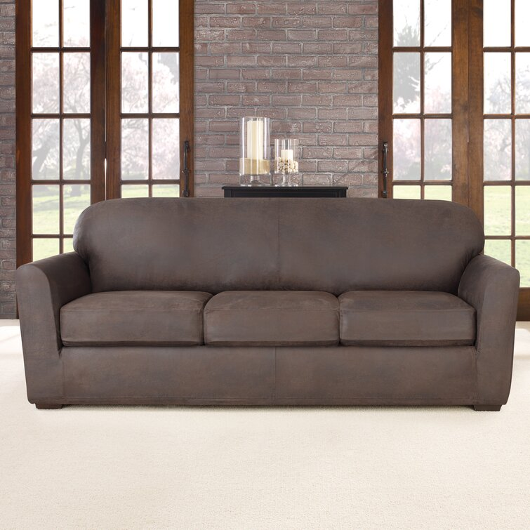 NEW Sure Fit faux stretch Suede Slate gray Sofa Slipcover 2 cushion t or box