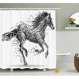 Rosalina Modern Sketchy Futuristic Unusual Patterned Line Combined Animal Horse Figure Image Single Shower Curtain