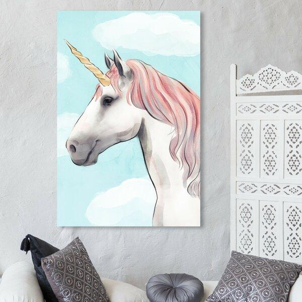 White Unicorn Sun rays Canvas Wall Art Picture Print