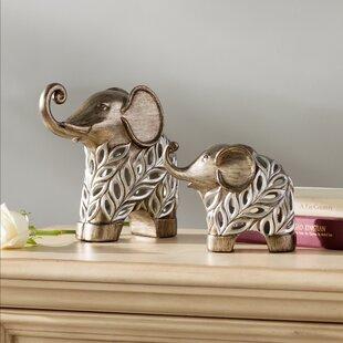 Llana Decorative Elephants 2 Piece Figurine Set