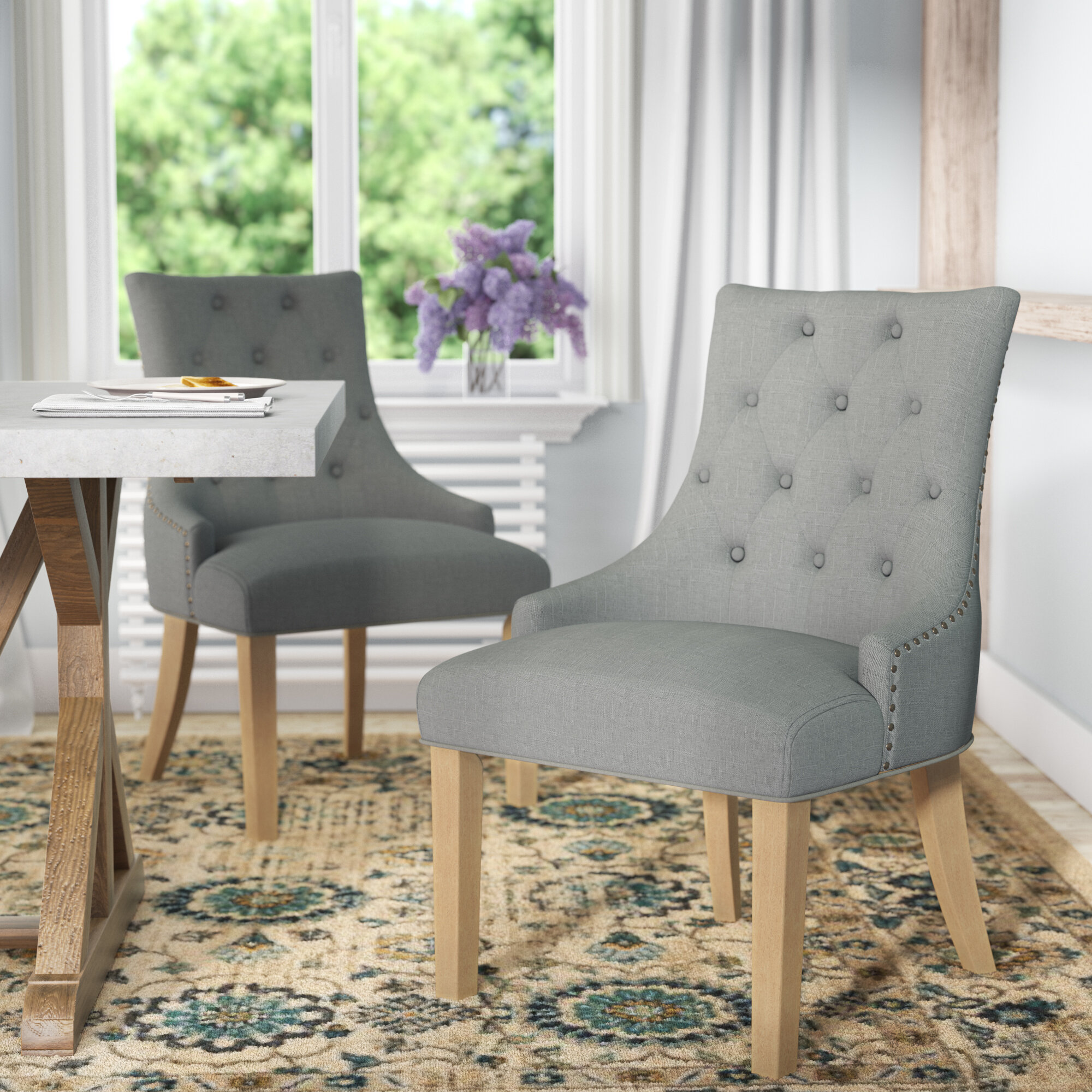 Image of: Laurel Foundry Modern Farmhouse Miles City Button Tufted Wingback Hostess Upholstered Dining Chair Reviews Wayfair
