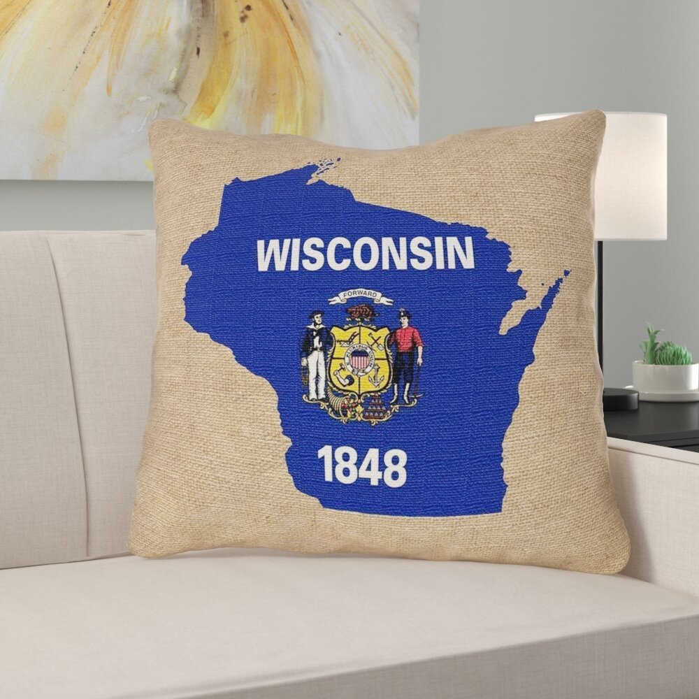 East Urban Home Wisconsin State Flag Pillow In Cotton Twill Double Sided Print Euro Pillow Wayfair