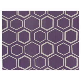 Hand-Woven Wool Purple/Beige Area Rug ByExquisite Rugs
