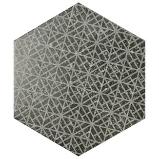 Lunastone Hexagon 10 X 11 5 Porcelain Field Tile Floor And In Black Gray