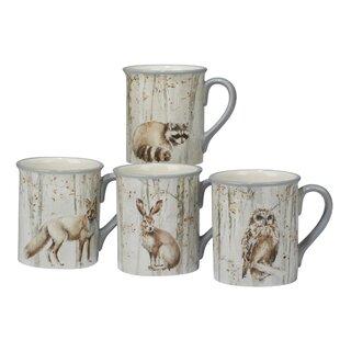 Frerichs A Woodland Walk 4 Piece Ceramic Coffee Mug Set