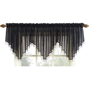 Crushed Sheer Voile Beaded 51 Window Valance