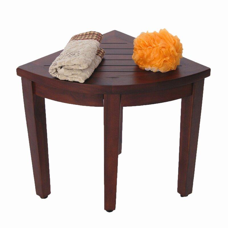 Decoteak Oasis Teak Corner Shower Seat Stool Shower Seat & Reviews ...