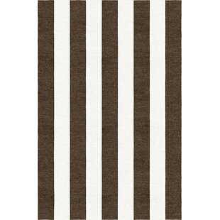 Affordable Mackelprang Stripe Hand-Woven Wool Brown/White Area Rug By Red Barrel Studio