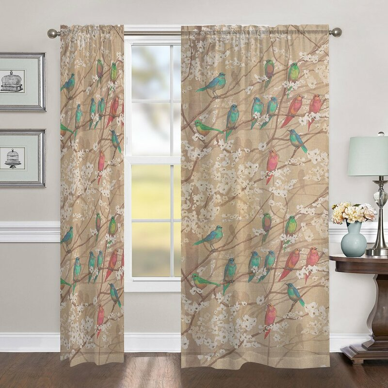 Red Barrel Studio Eggers Azalea Leaves Floral Room Darkening Rod Pocket Single Curtain Panel Wayfair