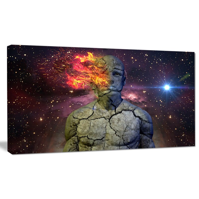 Designart Broken Human Body With Fire Graphic Art On Wrapped Canvas Wayfair