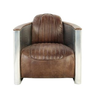 Maia Aluminum Patchwork Faux Leather Upholstered Barrel Chair
