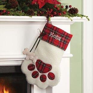 626782e02ca Plaid Dog Bone Personalized Paw Stocking