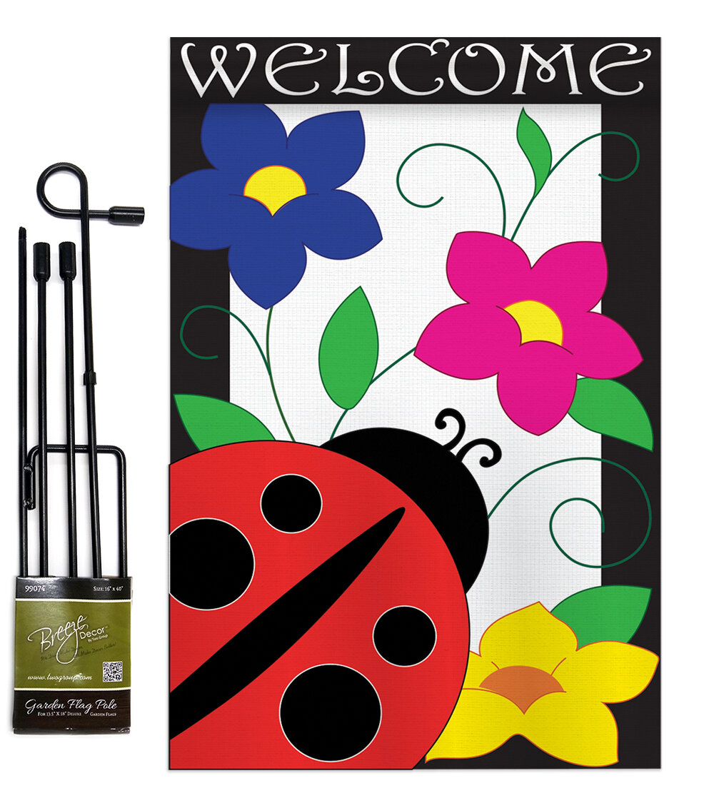 Breeze Decor Spring Ladybug Friends Bugs And Frogs 2 Sided Polyester 19 X 13 In Garden Flag Wayfair