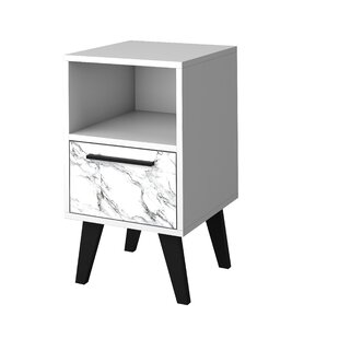 Affordable Price Heady Mid Century Modern 1 Drawer Nightstand by George Oliver