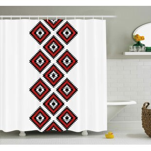 Susie Tribal Native American Zig Zag Aztec Ethnic Motif With Embroidery Ornaments Image Shower Curtain
