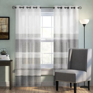 Augustus Striped Grommet Single Curtain Panel by Langley Street