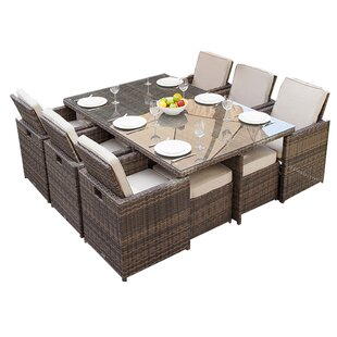 Latitude Run Leela 11 Piece Outdoor Patio Dining Set with Cushions