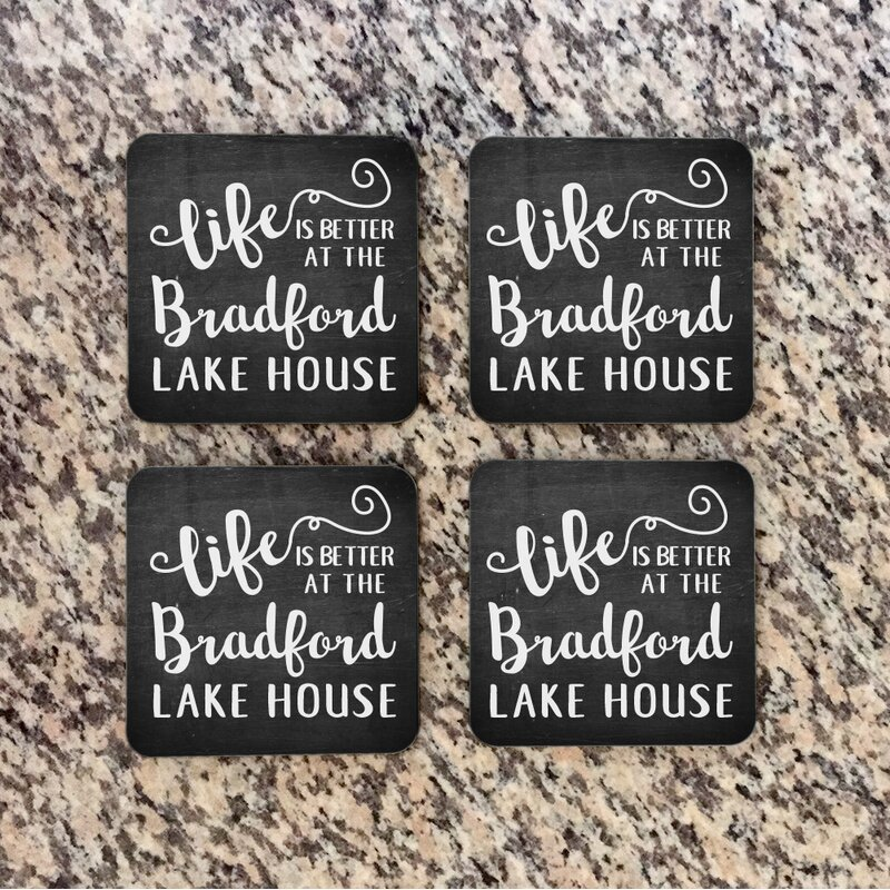 4 Wooden Shoes Personalized Chalkboard Look Lake House Coaster Reviews Wayfair
