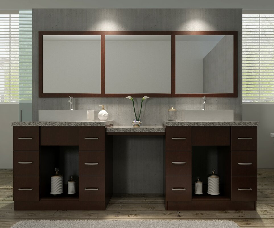 double vanity with makeup table. Roosevelt 97  Double Sink Vanity Set with Mirror and Makeup Table Ariel Bath