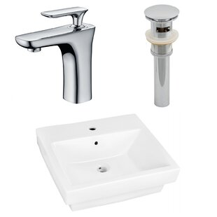 Savings Ceramic Rectangular Drop-In Bathroom Sink with Faucet and Overflow By American Imaginations