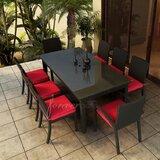 Barbados 9 Piece Dining Set with Sunbrella Cushions
