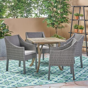 Nader Outdoor 5 Piece Dining Set with Cushions