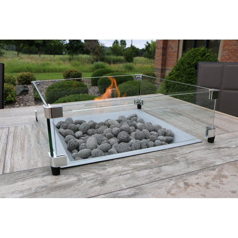 The Outdoor Greatroom Company Square Tempered 4panel Glass Fireplace Screen