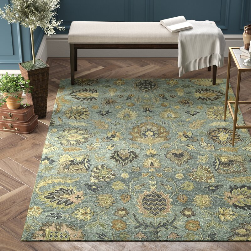 Charlton Home Casper Hand Tufted Wool Light Blue Floral Area Rug Reviews Wayfair