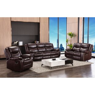 Delafe 3 Piece Faux Leather Reclining Living Room Set by Red Barrel Studio