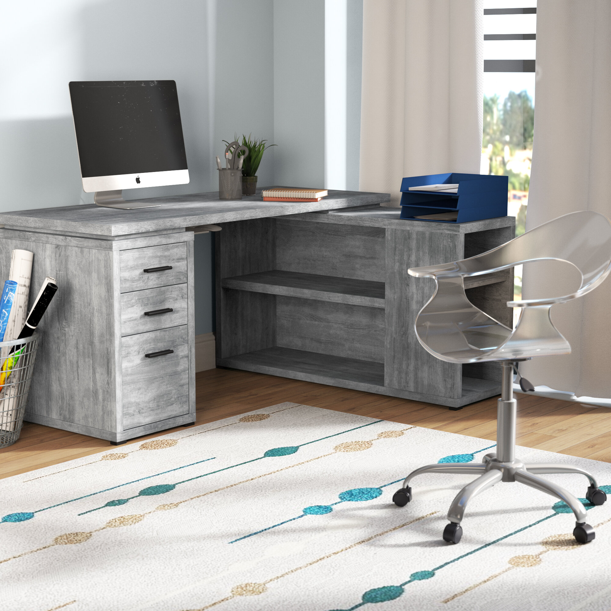 Outstanding Dousman L Shape Executive Desk Home Interior And Landscaping Mentranervesignezvosmurscom