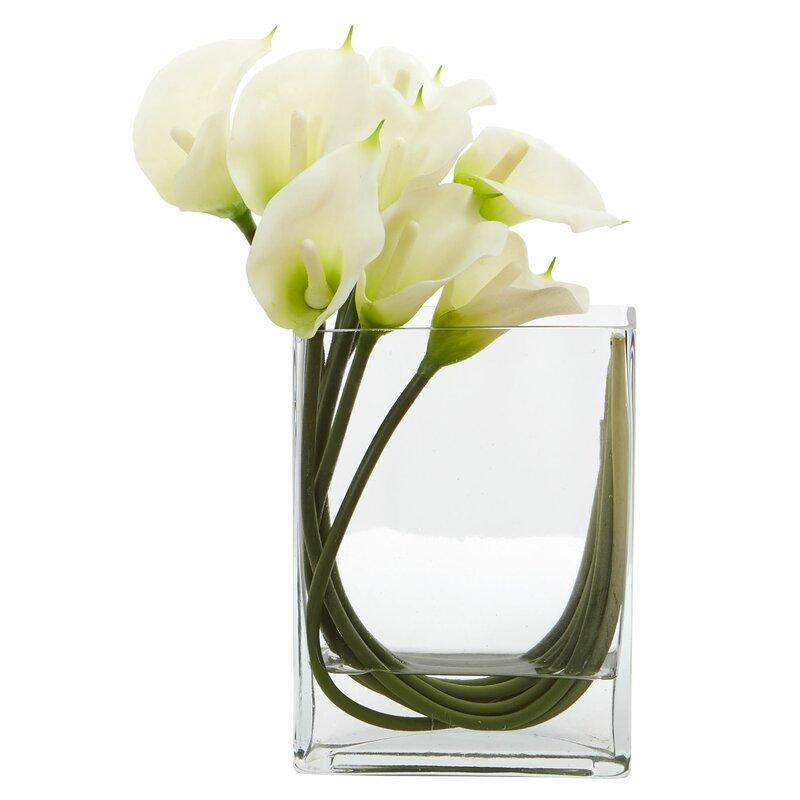 Latitude Run Calla Lily Artificial Floral Arrangement In Glass Vase
