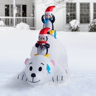 Long Polar Bear with Penguins Decoration. by The Holiday Aisle
