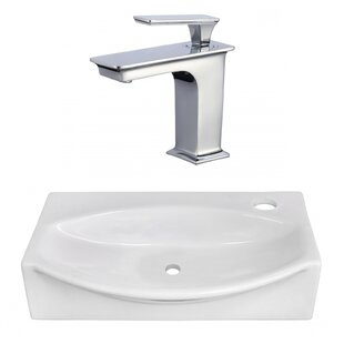 Reviews Ceramic 12 Wall Mount Bathroom Sink with Faucet By American Imaginations