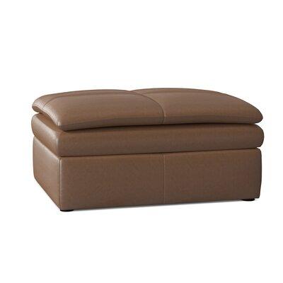"Omnia Leather Encino 38"" Genuine Leather Square Ottoman  Body Fabric: Urban Maple, Cushion Fill: Down Cushion Fill"