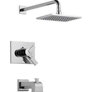 Vero Volume Control Tub and Shower Faucet Trim with Lever Handles and Monitor