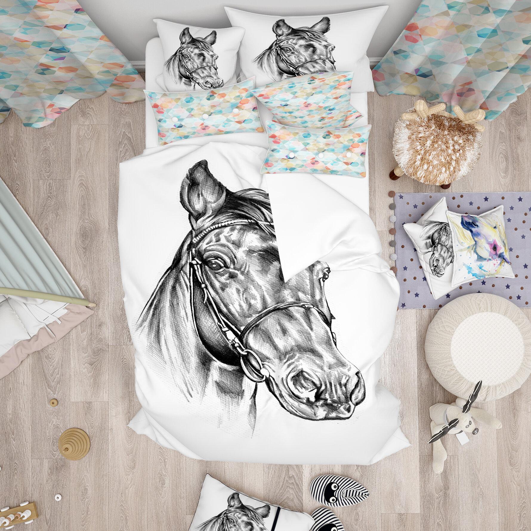East Urban Home Designart Freehand Horse Head Pencil Drawing Duvet Cover Set Wayfair