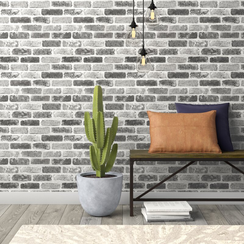 "Williston Forge Rosalinda Washed Faux Brick 18' L x 20.5"" W Peel and Stick  Wallpaper Roll & Reviews 