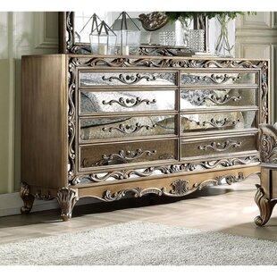 Astoria Grand Summerdale Floral Inlaid Wooden 8 Drawer Double Dresser