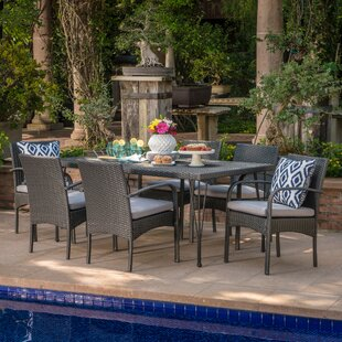 Maia Outdoor Wicker 7 Piece Dining Set with Cushions