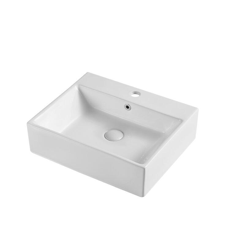 Phoenix White Ceramic Rectangular Vessel Bathroom Sink With Overflow Wayfair
