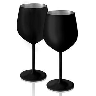 McGuinness Chalkable 18 oz. Stainless Steel Stemmed Wine Glass (Set of 2)