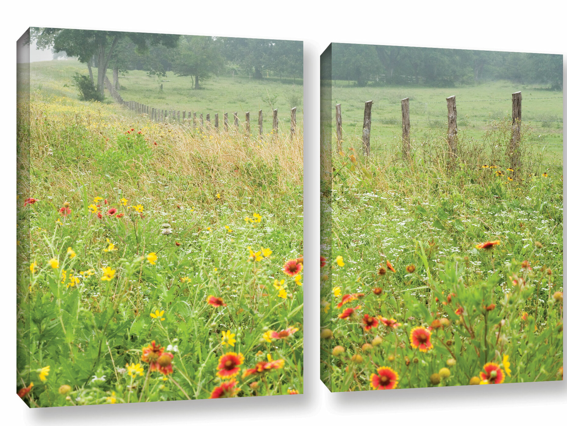 August Grove Flowers And Fence Photographic Print Multi Piece Image On Canvas Wayfair