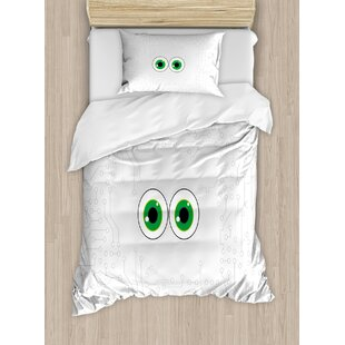 Trippy High-Tech Hardware Circuit Board Backdrop with Eye Forms Digital Picture Duvet Set by East Urban Home