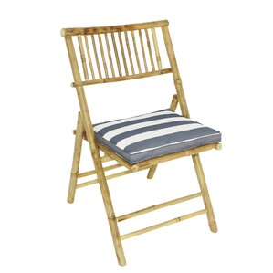 Derbyshire Bamboo Folding Patio Dining Chair With Cushion (Set Of 2)