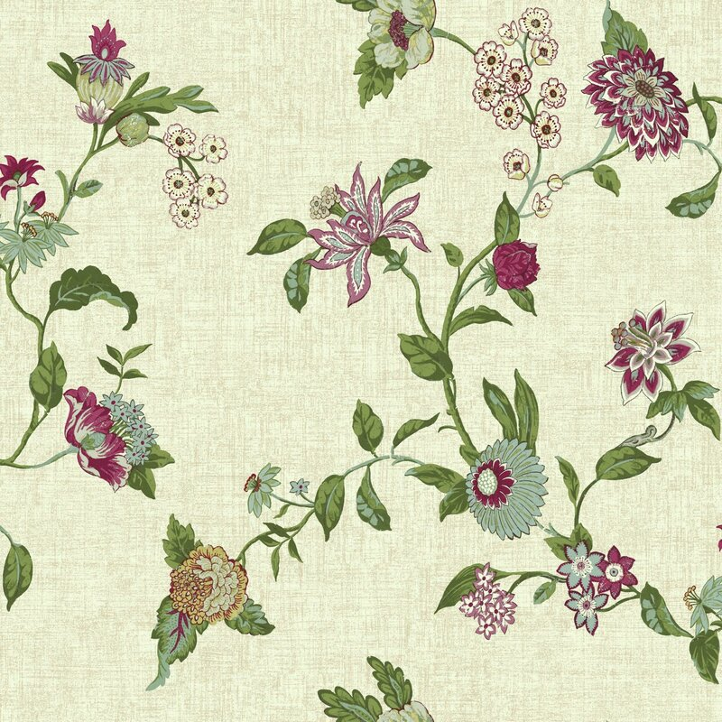 "Global Chic Graceful Garden Trail 33' x 20.5"" Floral and Botanical Wallpaper"