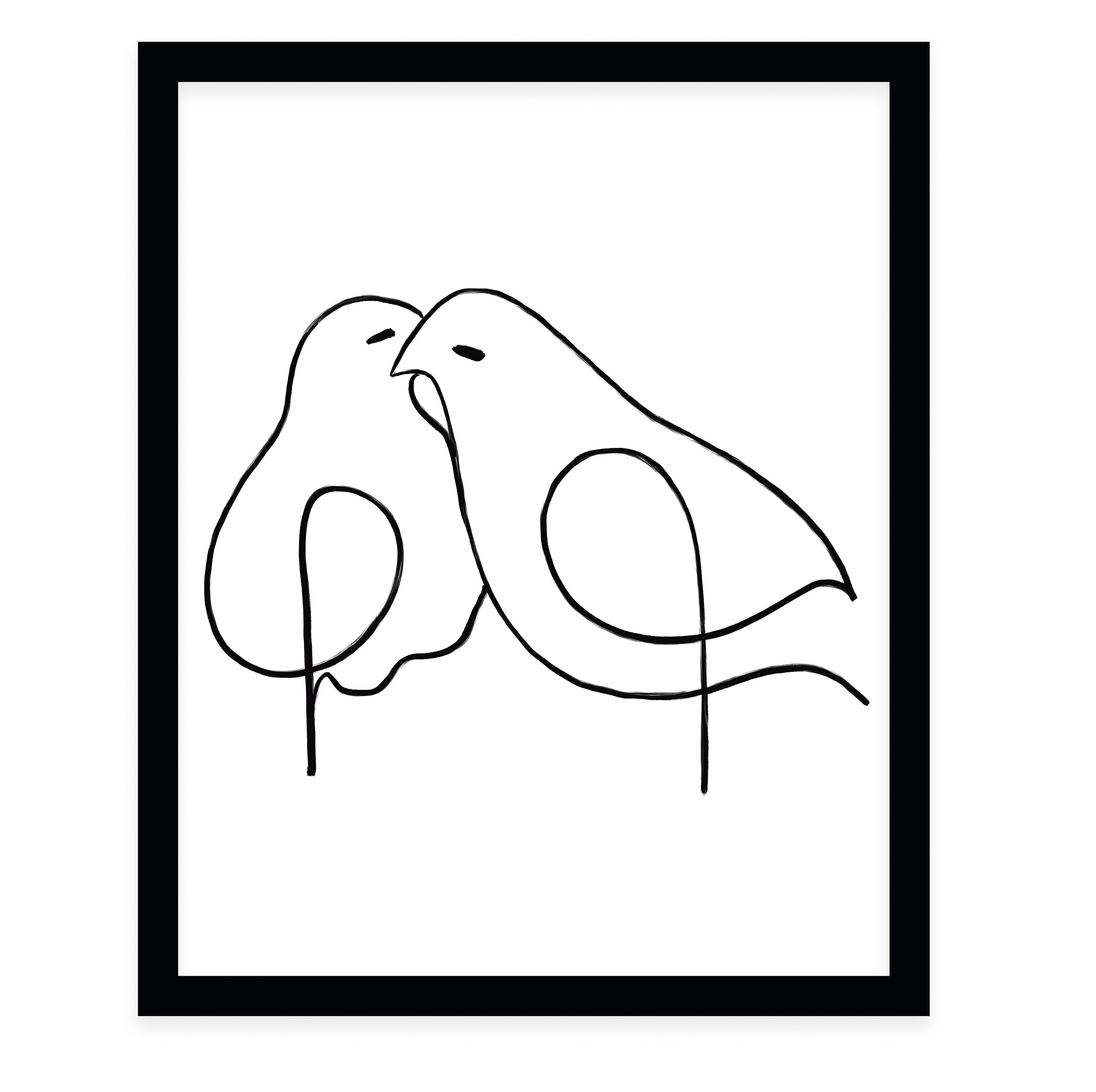 Love Birds Framed Drawing Print Joss Main