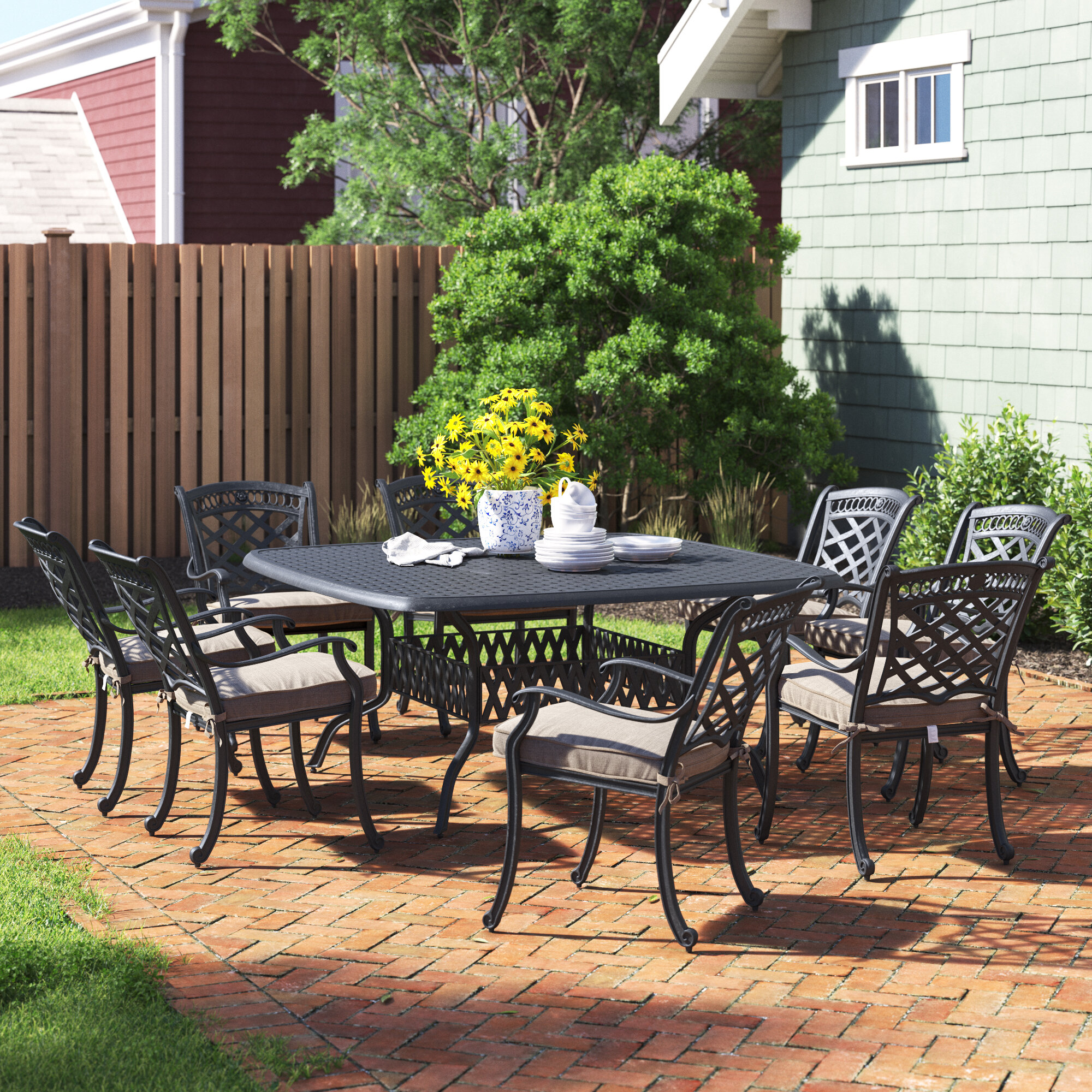 wildermuth square 8 person 64 long dining set with cushions