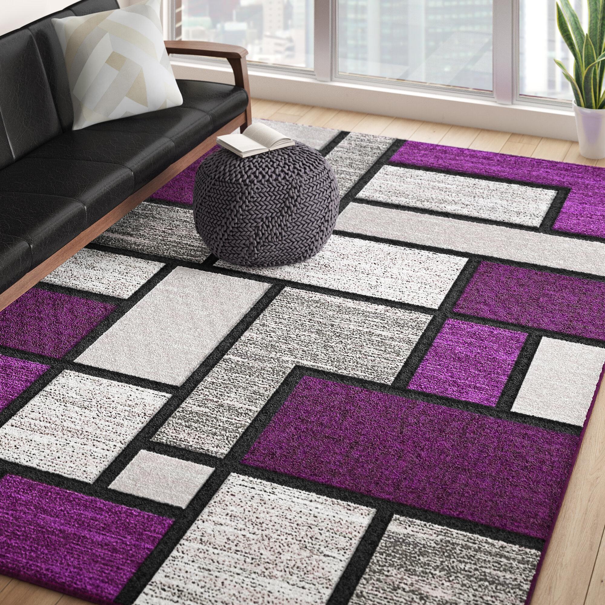 Ivy Bronx Mccampbell Geometric Purple Gray Area Rug Reviews Wayfair