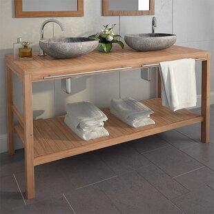 Arterburn Solid Teak 1320mm Free-Standing Double Vanity Unit By Bloomsbury Market